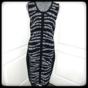 Calvin Klein Dress Slvls Blk/Wht Animal Print M